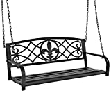 Cheap Best Choice Products Outdoor Furniture Metal Fleur-De-Lis Hanging Patio Porch Swing – Black