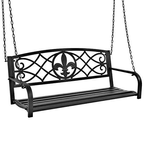 Best Choice Products Outdoor Furniture Metal Fleur-De-Lis Hanging Patio Porch Swing - Black (Black Porch Swing)