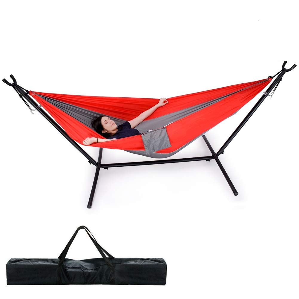 Camping Hammock with Portable Space Saving Stand, Lightweight Parachute Nylon Hammock Heavy Duty 2 Person Hammock Stand 550LBS Capacity Hammock and Stand Set for Travel Beach Yard Indoor Outdoor