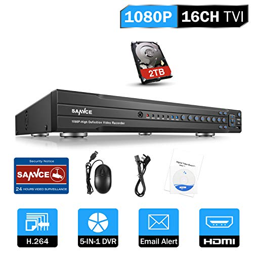 SANNCE 16CH 1080P DVR Video Surveillance Recorder with 2TB Hard Drive – 4-in-1 Supports HD-TVI, CVI CVBS AHD 960H Security Cameras, Remote Viewing, Motion Detection
