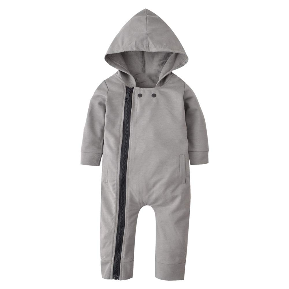KOERIM Boy Bodysuit Hooded Jumpsuit Rompers Pajamas Sleeper