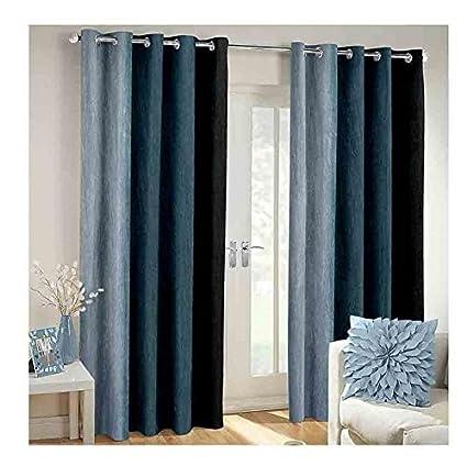 Generic Nikunj Fab Long Crush Polyester Blend Solid Door Curtains (Grey, 7ft) -Set of 2