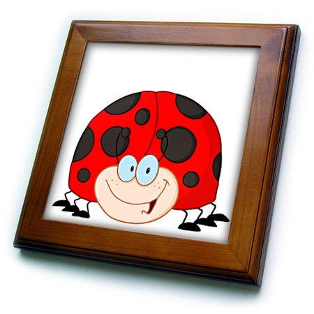 3dRose ft_63120_1 Ladybug with Smiles Framed Tile, 8 by (Ladybug Framed Tile)