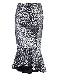 Glitter Long Fishtail Pencil Skirt