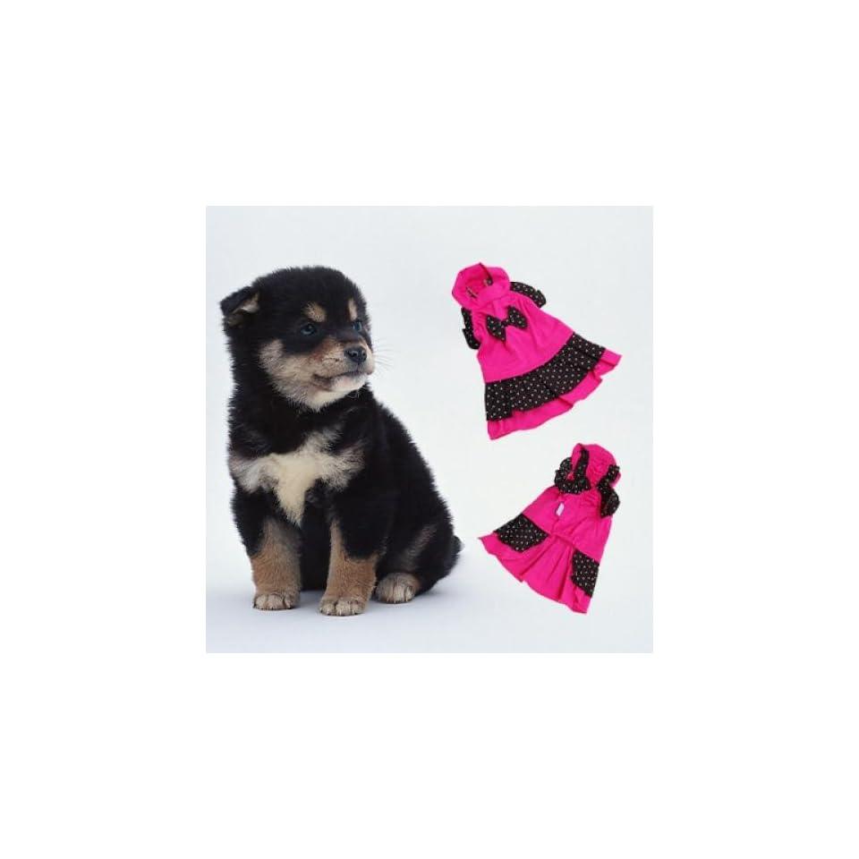 Shocking Pink & Black Pet Dog Dress Clothes Apparel Cotton S#