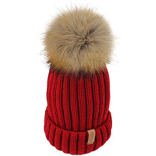Womens Knitted Winter Pom Beanie Hat Faux Fur Pom Pom bobble Hat beanie for girls,One Size Red