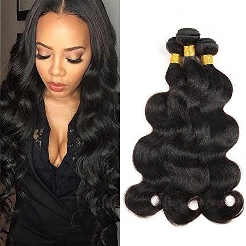 Sunwell Brazilian Body Wave Virgin Hair 3 Bundles 7A Unprocessed Human Hair Weave Extensions 100g/pc Natural Black (12inch 14inch 16inch)