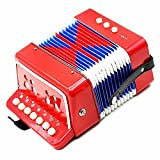 Oypla 7 Keys 2 Bass Children's Red Toy Accordion Musical Instrument