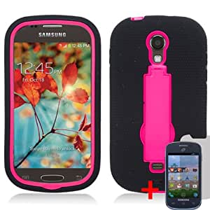 SAMSUNG GALAXY LIGHT T399 BLACK PINK HYBRID RUBBER KICKSTAND COVER HARD GEL CASE + FREE SCREEN PROTECTOR from [ACCESSORY ARENA]