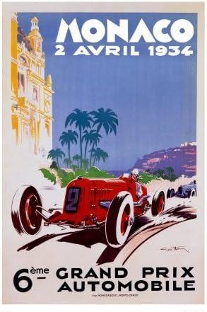 "Poster /""Monaco Grand Prix 1930 Vintage racingposter/"" Print on photographic paper"