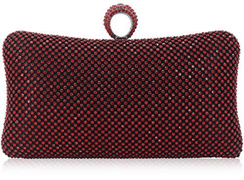 Dexmay Ring Rhinestone Crystal Clutch Purse Luxury Women Evening Bag for Bridal Wedding Party Siam Red