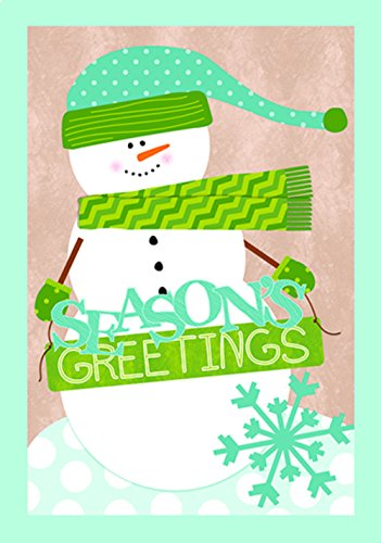 Festive Christmas Holiday Snowman Greeting Cards with Envelopes, Green, Turquoise, White, 16 Count, 4.125 x 5.875 Inches (Santa Holiday Card)