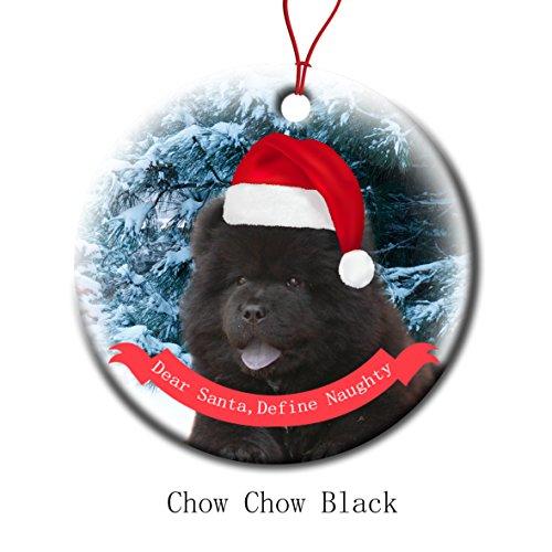 Xmas Ornaments Ceramic Flat Round Snowflakes Santa Dog Chow Chow Black Custom Tree Branch Hanging Decoration for Holiday Season