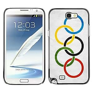 TopCaseStore / la caja del caucho duro de la cubierta de protección de la piel - Olympic Grunge Flag - Samsung Galaxy Note 2 N7100