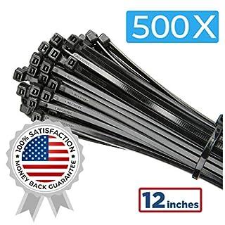 "500 Value Pack of Heavy Duty Zip Ties 4""/6""/8""/10""/12""   Premium Nylon Cable Ties   UV and Heat Resistant Tie Wraps"