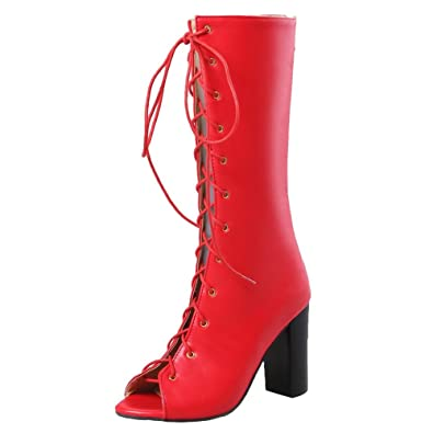 MissSaSa Damen Sommer high Heel Schnür-Stiefel  Amazon.de  Schuhe ... 5a961541d0