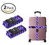 SWEET TANG Luggage Strap, Adjustable Straps purple mermaid fish scales Suitcase Belt with Security Lock