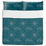 Holy Days Petrol Duvet Bed Set 3 Piece Set Duvet Cover - 2 Pillow Shams - Luxury Microfiber, Soft, Breathable