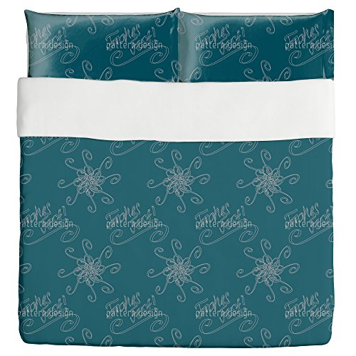 Holy Days Petrol Duvet Bed Set 3 Piece Set Duvet Cover - 2 Pillow Shams - Luxury Microfiber, Soft, Breathable by uneekee