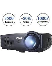 Proyector, WiMiUS Proyectores LED 3500 Lúmenes Soporta Full HD 1080P Proyector Video Portátil Proyector Cine en casa con Puerto HDMI VGA USB SD para PC Portátil TV Juego Hogar PS3 XBO X360-Negro