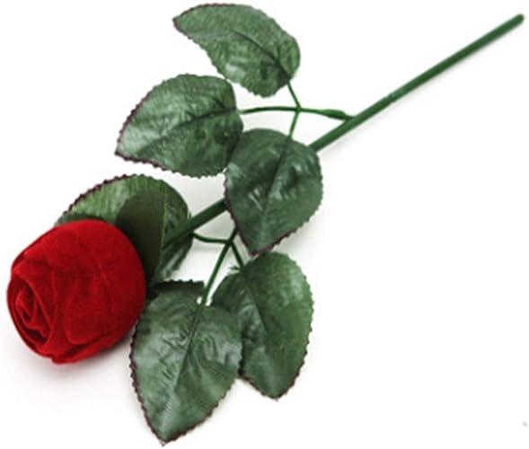 Red Rose Jewelery Box with Stem Romantic Surprise Flower