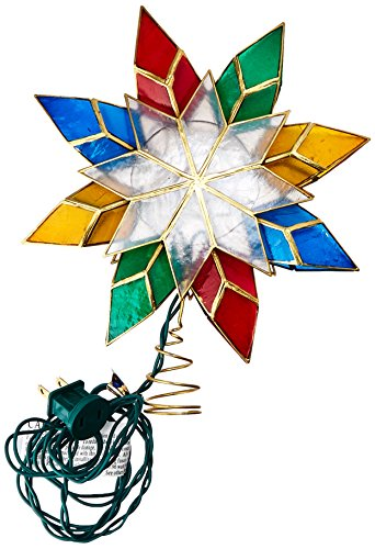 Kurt Adler 10-Light Multi-Color Capiz Star Tree Topper (Ornaments Christmas Capiz)
