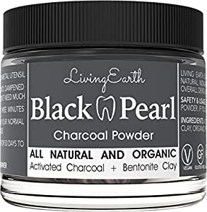 Black Pearl Activated Charcoal - Teeth Whitening - Freshens Breath - Organic & All Natural - Remineralizing Tooth Powder - Anti-Bacterial - Made In USA - Glass Jar