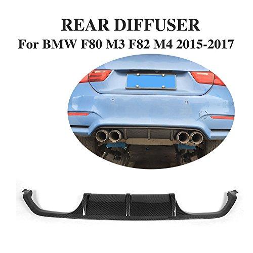 JCSPORTLINE Carbon Fiber Black Rear Bumper Lip Diffuser Spoiler Cover for BMW F80 M3 F82 M4 2015-2017
