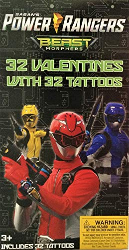 Power Ranger Beast Morphers 32 Valentines with 32 -
