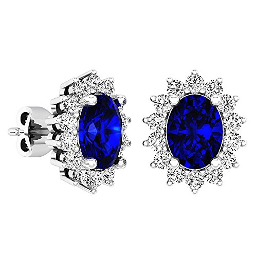 (Sterling Silver 8X6 MM Oval Cut Lab Created Blue & Round White Sapphire Ladies Fashion Stud Earrings)