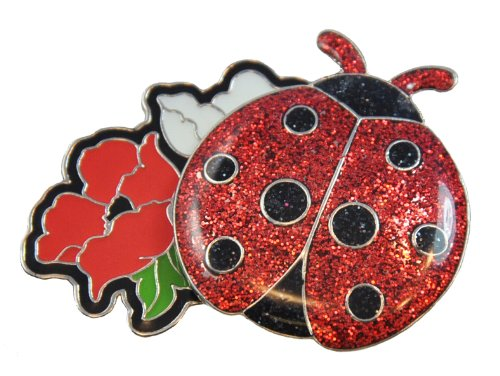 Navika Red Ladybug Glitzy Ball Marker with Magnetic Flower Hat Clip ()