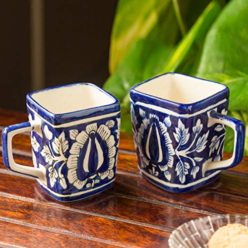 ExclusiveLane The 'Royal Goblets' Mughal Hand-Painted Ink Blue Ceramic Tea & Coffee Mugs (Set Of 2) (Handmade and Handcrafted In India)-Dinnerware Handmade Cups Tea Coffee Mugs Glasses Tea Cups Set