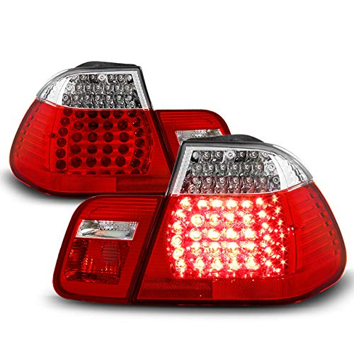 Xtune 2002-2005 E46 3-Series 4-Door Sedan Red Clear LED Tail Lights w/LED Signal Pair L+R 2003 2004