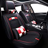 Big Ant Car Seat Covers, Waterproof Leatherette Seat Covers Breathable 5 Seats Full Set Front Back Cover 12 PCS - Fit Most Car, SUV, or Van (Black and Red)