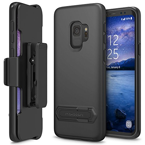 Maxboost Galaxy S9 Holster Case DuraSlim Series with Reinforced Kickstand and Rotating Belt Clip [Heavy Duty] [Black] Dual Layer Shock-Absorbing Protection Case for Samsung Galaxy s 9 Phone (2018) - Retract Belt