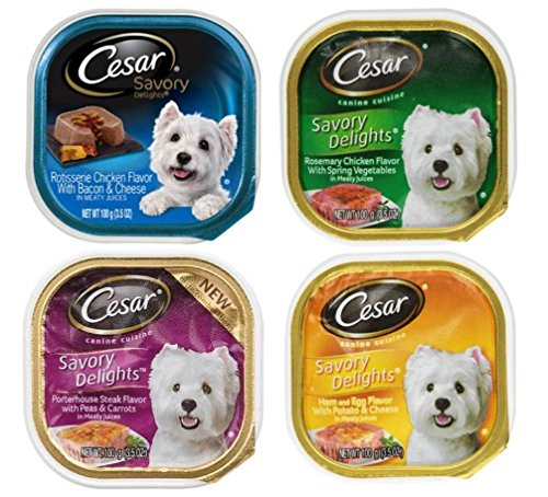 Cesar Savory Delights Dog Food 4 Flavor 8 Can Bundle: (2) Porterhouse Steak, Peas, Carrots, (2) Ham, Egg, Potato, Cheese, (2) Rosemary Chicken, & (2) Rotisserie Chicken, Bacon, Cheese, 3.5 Oz. Ea.