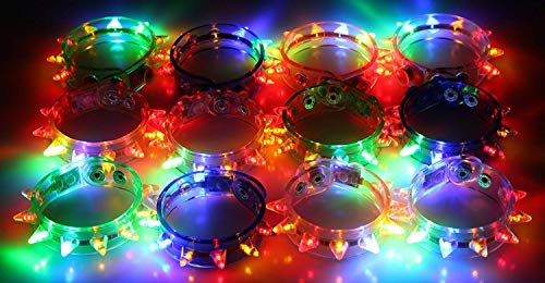 Light-up Flashing LED Spike Bracelets (2 Dozen - 24 -