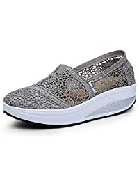 Women's Mesh Platform Walking Shoes Lightweight Slip-On Fitness Work Out Sneaker Shoes