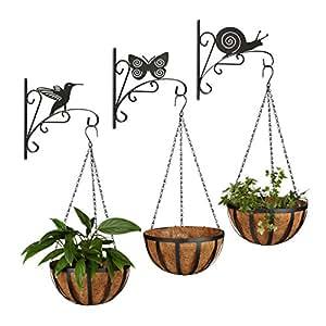 6piezas Flores con Motivos de animales, macetones, 3cestas colgantes, pared Ganchos Set, 3Flores, plantas Soporte, pared