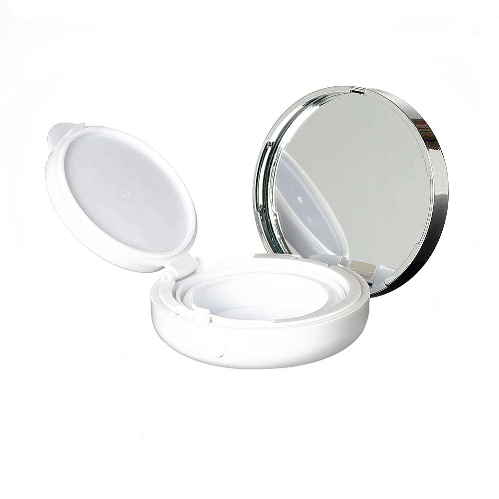 15g 0.5oz Empty Luxurious White Silver Edge Make-up Powder Container Air Cushion Puff Case with Sponge Powder Puff and Extra Inner Container Foundation BB Cream Box ASTRQLE