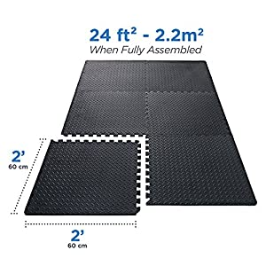 Interlocking EVA Foam Tiles Puzzle Exercise Mat, Protective Flooring for Gym Equipment and Cushion for Workouts, 24 SQ. FT (6 tiles, 12 borders)