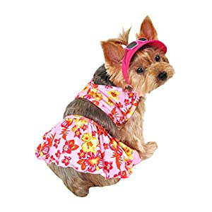 SimplyDog Hawaiian Dog Swimming Suit and Hat Set, XX-Small, Pink