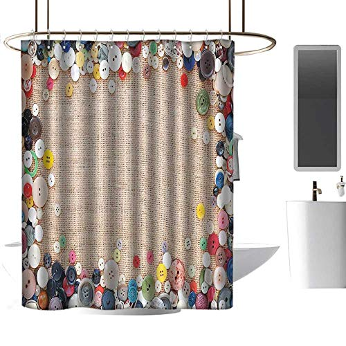 homehot Shower Curtains Fabric Beige Vintage,Buttons Collection Fabric Texture Canvas Frame Sewing Needlecraft Contemporary Picture,Light Brown,W48 x L84,Shower Curtain for clawfoot -