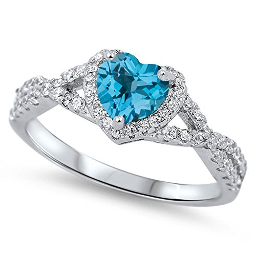 925 Sterling Silver Faceted Natural Genuine Sky Blue Topaz Heart Halo Promise Ring Size 6
