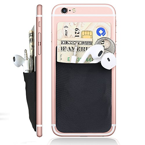 Card Holder Jowtte Credit Card Wallet Case Stick on | iPhone Case with Card Holder for ID Keys Earphones | Money Clip for iPhone, Samsung, All Smart Phones