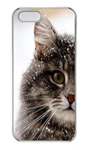 iPhone 5 5S Case Cute Snowed Cat185 PC Custom iPhone 5 5S Case Cover Transparent by lolosakes