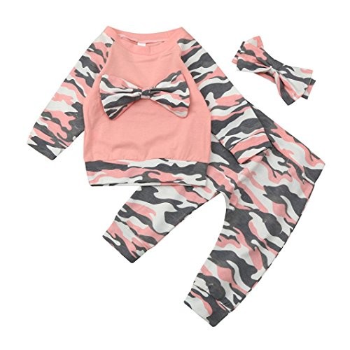 3Pcs Outfit Set Newborn Baby Girls Twins Camouflage Bow Rompers TopPantsHat Outfits Pink 6M