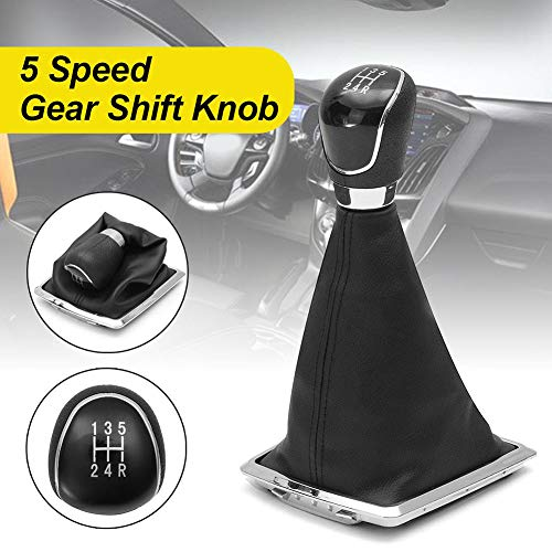HsgbvictS Gear Shift Knob with Cover Car Interior Parts Knob Gear Shift Knob 5 Speed Stick Lever Gaiter Dustproof Cover for Ford Focus - Black