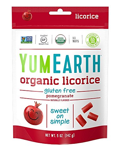 YumEarth Organic Gluten Free Pomegranate Licorice, 5 Ounce Bag (Pack of 12) (Pack May Vary) ()