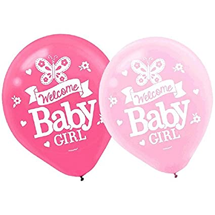 bb738c00a Amazon.com: amscan Appealing Welcome Little One Girl Printed Latex Balloons  Baby Shower Party Decorations, 12